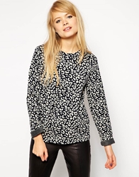Asos Sweatshirt In Bonded Soft Touch Animal Print Mutli