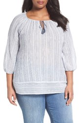 Caslonr Plus Size Women's Caslon Print Cotton Tie Neck Peasant Blouse White Blue Stripe