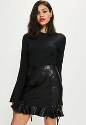 Missguided Black Faux Leather Frill Mini Skirt