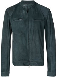 Desa 1972 Fitted Leather Jacket Blue