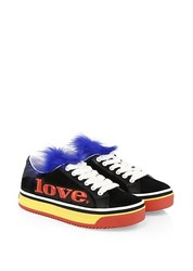 Marc Jacobs Love Empire Fur Trim Platform Sneakers Multi