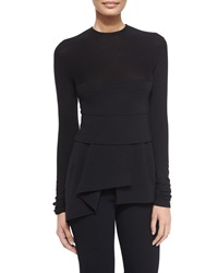 Donna Karan Long Sleeve Combo Peplum Top Black
