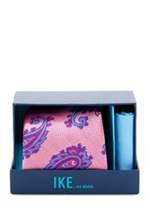 Ike Behar Paisley Silk Tie And Handkerchief Pink