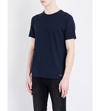 7 For All Mankind Slub Cotton Jersey T Shirt Navy