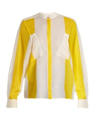Maison Rabih Kayrouz Etamine Striped Wool Shirt Yellow Stripe
