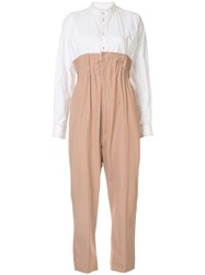 Bassike Two Tone Tailored Jumpsuit White