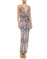 T Bags Knotted Feather Maxi Dress Multicolor Multi Colors