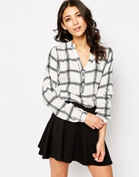 B.Young Long Sleeve Checked Shirt White