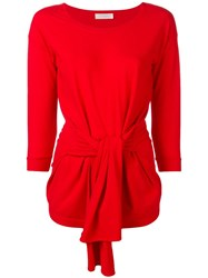 Zanone Tie Front Sweater Red