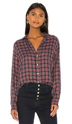 Frank And Eileen Button Down In Red Blue. Small Red Navy And Green Plaid