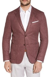 Flynt Big And Tall Trim Fit Heathered Jersey Blazer Wine