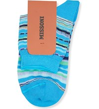 Missoni Striped Short Ankle Socks Blue 002