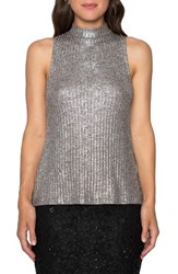 Willow And Clay Women's Metallic Lace Up Back Tank