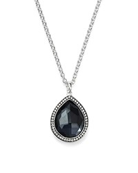 Ippolita Stella Large Teardrop Pendant Necklace In Hematite Doublet With Diamonds In Sterling Silver 16 Black Silver