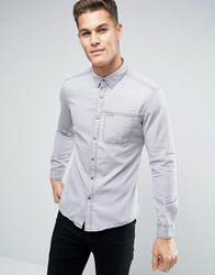 Esprit Denim Shirt In Slim Fit With Chest Pocket Grey