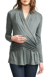 Maternal America Women's Drape Maternity Nursing Top Stone Grey