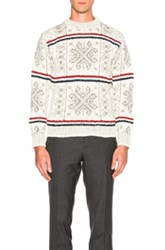 Thom Browne Norwegian Fair Isle Crew Neck Sweater In White Stripes Abstract White Stripes Abstract
