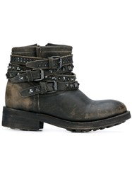 Ash Distressed Studded Boots Brown