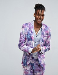 Noose And Monkey Wedding Super Skinny Suit Jacket In Print Lilac Purple