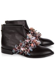 Anouki Black And Pink Embellished Strap Boots