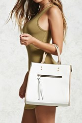 Forever 21 Structured Faux Leather Satchel White Taupe