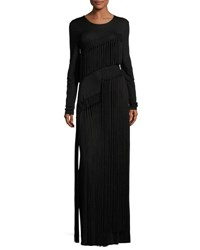 Opening Ceremony Long Sleeve Fringe Jersey Maxi Dress Black