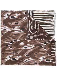 Pierre Louis Mascia Patchwork Scarf Brown