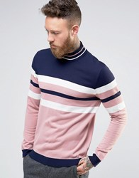 Asos High Neck Jumper With Retro Stripes Navy