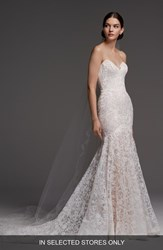Watters Medici Strapless Lace Mermaid Gown Macchiato