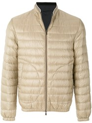 Herno Feather Down Zip Front Padded Jacket Nude And Neutrals