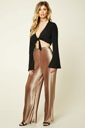 Forever 21 Metallic Accordion Pleat Pants Gold