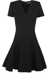 Alexander Mcqueen Leaf Crepe Mini Dress Black