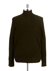 Black Brown Lambswool Zipper Placket Sweater Dark Olive