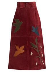 Red Valentino Bird And Floral Applique Suede Skirt Burgundy