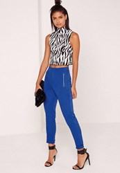 Missguided Vertical Zip Pocket Trousers Cobalt Blue