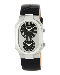 Philip Stein Teslar Large Signature Dual Time Zone Watch W Calfskin Strap Black