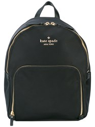 Kate Spade Logo Plaque Backpack Women Leather Nylon Polyester One Size Black
