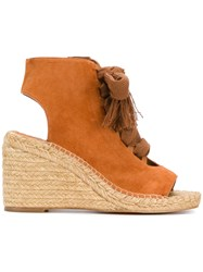 Chloe Lace Up Wedge Sandals Brown