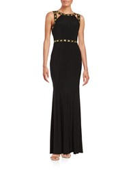 Decode 1.8 Embellished Shimmer Gown Black Gold