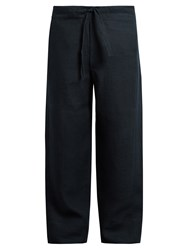 Hecho Drawstring Waist Linen Trousers Navy