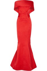 Zac Posen Off The Shoulder Duchesse Satin Gown Crimson