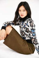 Ecote Abstract Floral Mock Neck Sweater Blue Multi