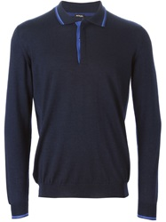 Kiton Long Sleeve Polo Shirt Blue