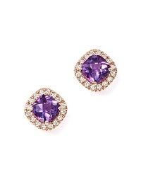 Bloomingdale's Amethyst Cushion Cut And Diamond Stud Earrings In 14K Rose Gold Purple Rose