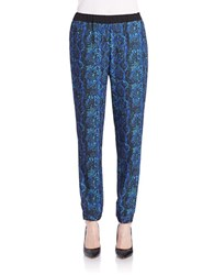 French Connection Relaxed Silk Like Printed Pants Black Multi