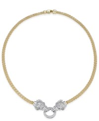 Macy's Diamond 5 8 Ct. T.W. Pave And Emerald Accent Elephant Mesh Necklace In 14K Gold Plated Sterling Silver Yellow Gold