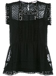 Red Valentino Sleeveless Embroidered Blouse Black