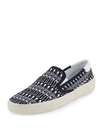 Saint Laurent Skeleton Print Slip On Sneaker Black White