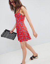 Asos Mini Cotton Sundress With Cups In Floral Print Floral Print Multi
