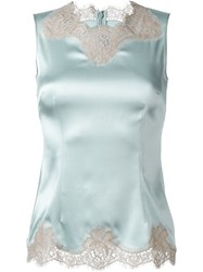 Dolce And Gabbana Lace Detail Tank Top Blue